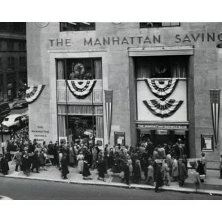 High Angle View Of Large Group Of People Waiting In Line In Front Of A Bank Building Canvas Art     18 X 24