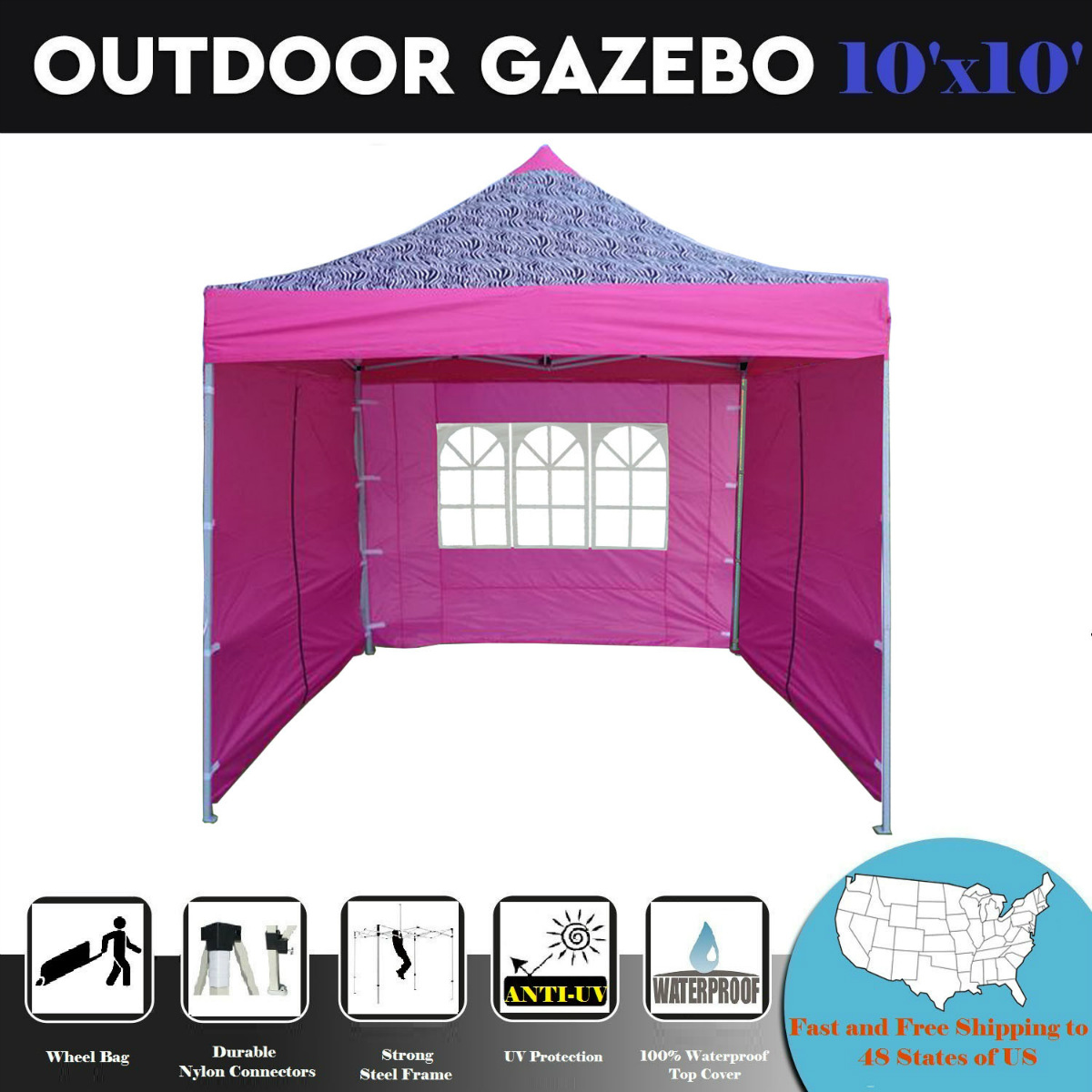 10u0027x10u0027 Pop up Canopy Wedding Party Tent Gazebo EZ Pink Zebra - F  sc 1 st  Walmart & 10u0027x10u0027 Pop up Canopy Wedding Party Tent Gazebo EZ Pink Zebra - F ...