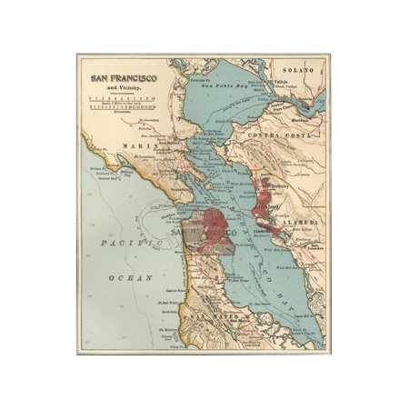 Map of the San Francisco Bay Area (C. 1900), Maps Print Wall Art By Encyclopaedia Britannica - Halloween Bay Area 2017