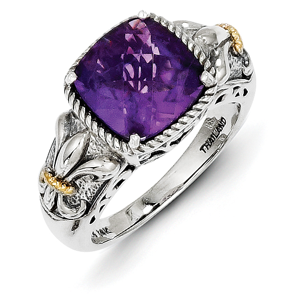 Roy Rose Jewelry Sterling Silver and 14K Gold Amethyst Ring ~ Size 6 by