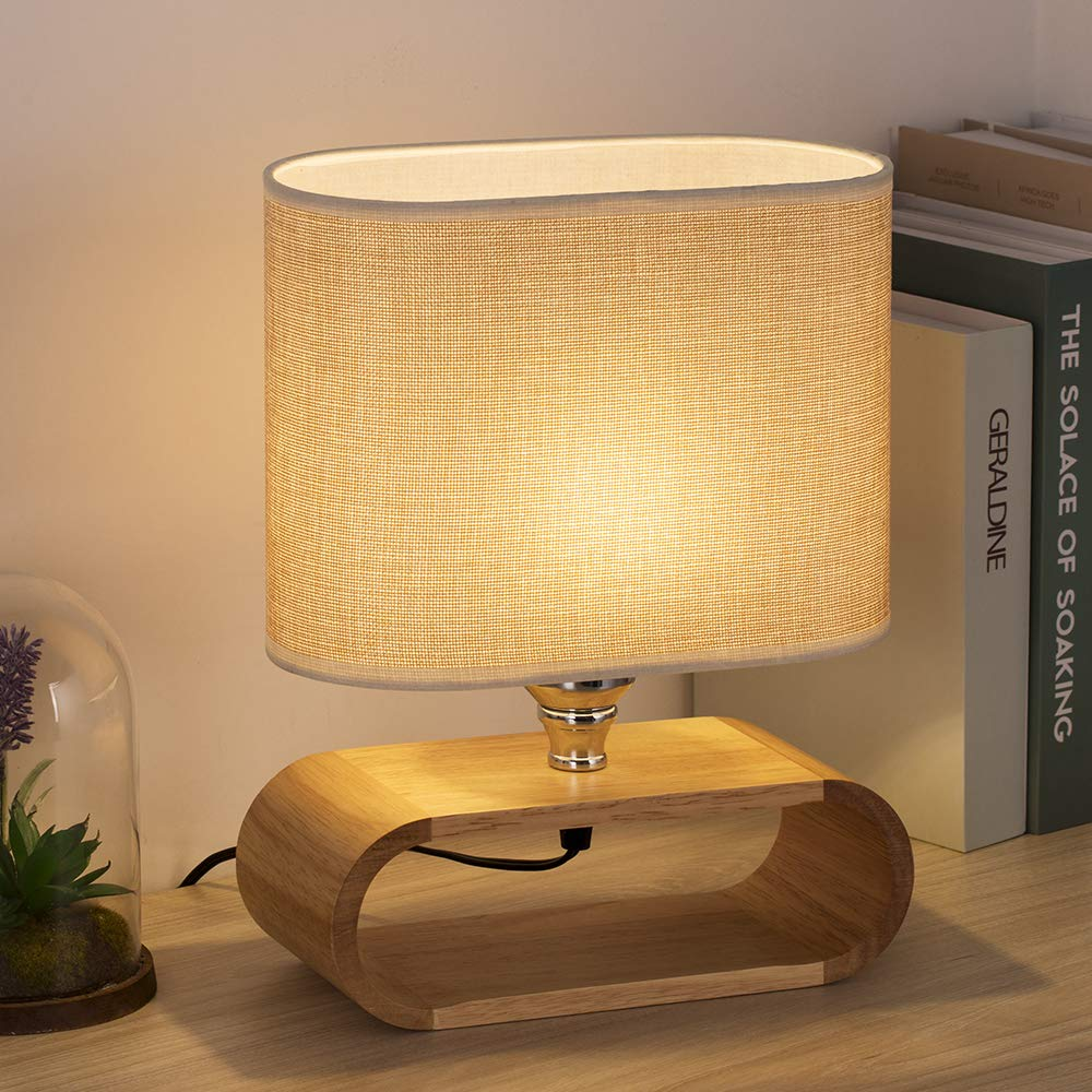 Haitral Bedside Table Lamp Small Wooden Nightstand Table