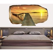 Startonight 3D Mural Wall Art Photo Decor First Step on the Bridgel Amazing Dual View Surprise Wall Mural Wallpaper for Bedroom Beach Wall Paper Art Gift Large 47.24 '' By 86.61 ''