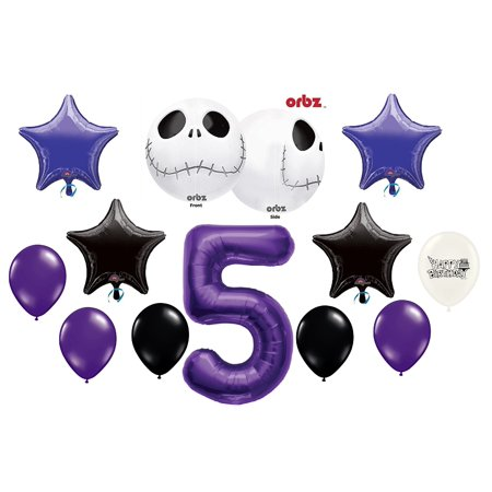 5th Birthday Party Jack Skellington Nightmare Before Christmas Balloon Bouquet](Union Jack Balloons)