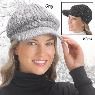 04bf5922f Lurex Cable Knit Beanie Hat with Visor Brim-Black