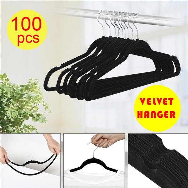 Yaheetech Thin Non-Slip Velvet Clothes Hanger, Pack of 100, Black