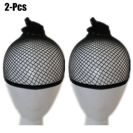 2Pcs Unisex Mesh Wig Caps Elastic Breathable Hair Liner Snood Stretch Net Wig Cap for Long and Short
