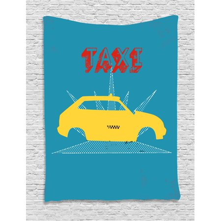Retro Tapestry, An Old Cab Car with Grunge Taxi Typography Automobile 90s Graphic Design, Wall Hanging for Bedroom Living Room Dorm Decor, Petrol Blue Yellow, by Ambesonne - 90s Room Decor
