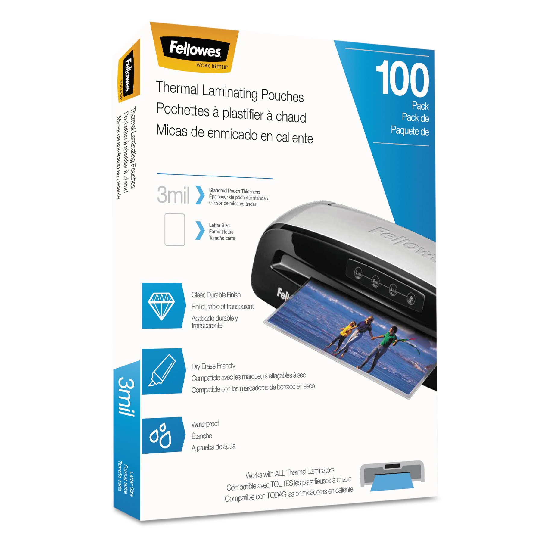 Fellowes Laminating Pouches, 3mil, 9 x 11 1/2, Letter Size, 100/Pack -FEL5743301