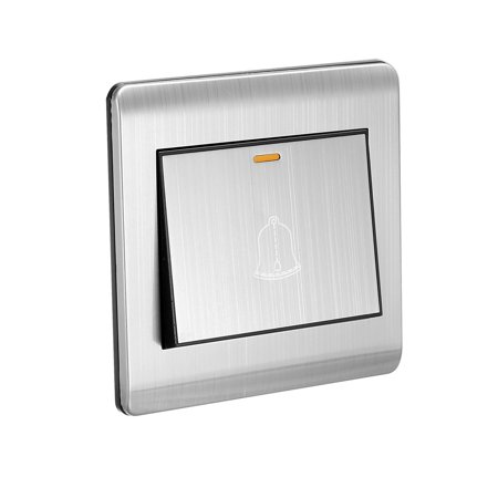 Doorbell Push Button Switch Wall Mounted Resettable Silver Tone AC 250V 16A Stainless Steel Panel 86mmx86mm