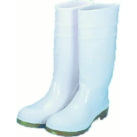 16 in. PVC Work Boot Over The Sock, White Steel Toe, Size 7 Conditions 16' Work Boot