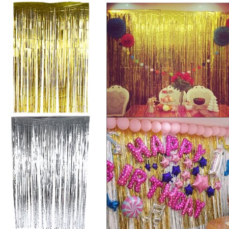 2m/3m 5Colors Metallic Tinsel Curtain Foil Wedding Birthday Party Decorations - Red Carpet Birthday Party