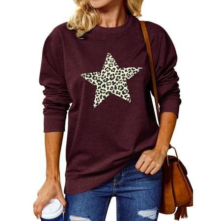 ZXZY Women Leopard Star Printed Round Neck Fashion Cotton Sweatshirt