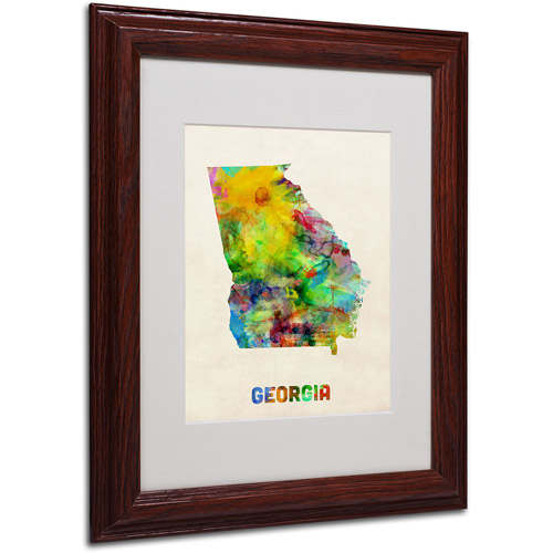 "Trademark Fine Art ""Georgia Map"" Matted Framed Art by Michael Tompsett, Wood Frame"