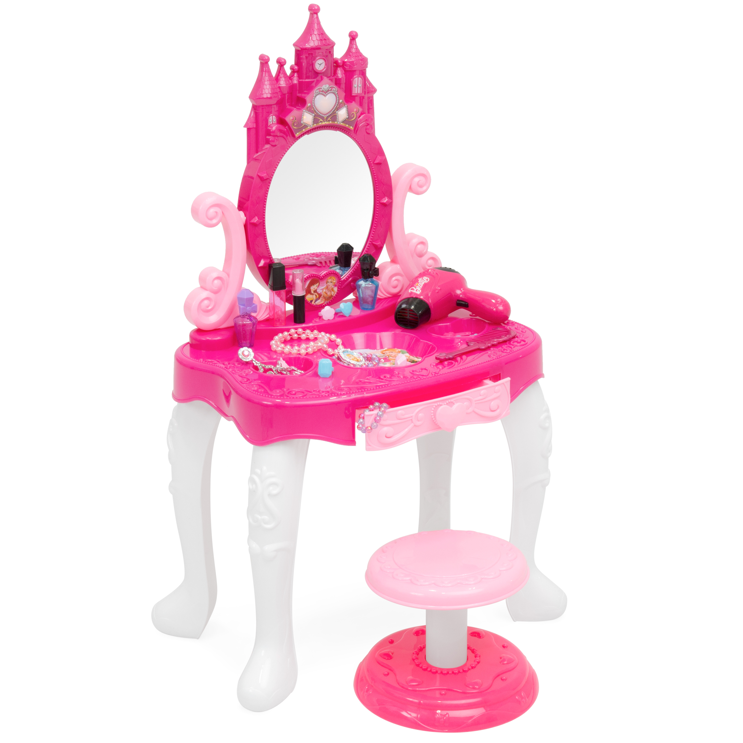 Best Choice Products 14-Piece Pretend Play Kids Vanity Table and Chair Beauty Play Set with Fashion & Makeup Accessories