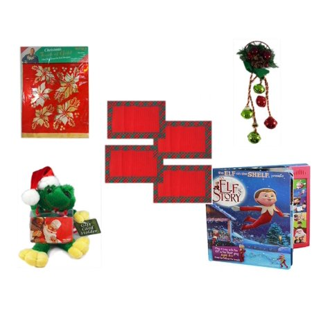 Christmas Fun Gift Bundle [5 Piece] -  Touch of Gold 1-Step Iron-On Foil Poinsettias - Festive Holly Berry & Pinecone Door Knob Jingler -  Red Plaid Cloth Placemats Set of 4 -  Santa Frog  Gift Card