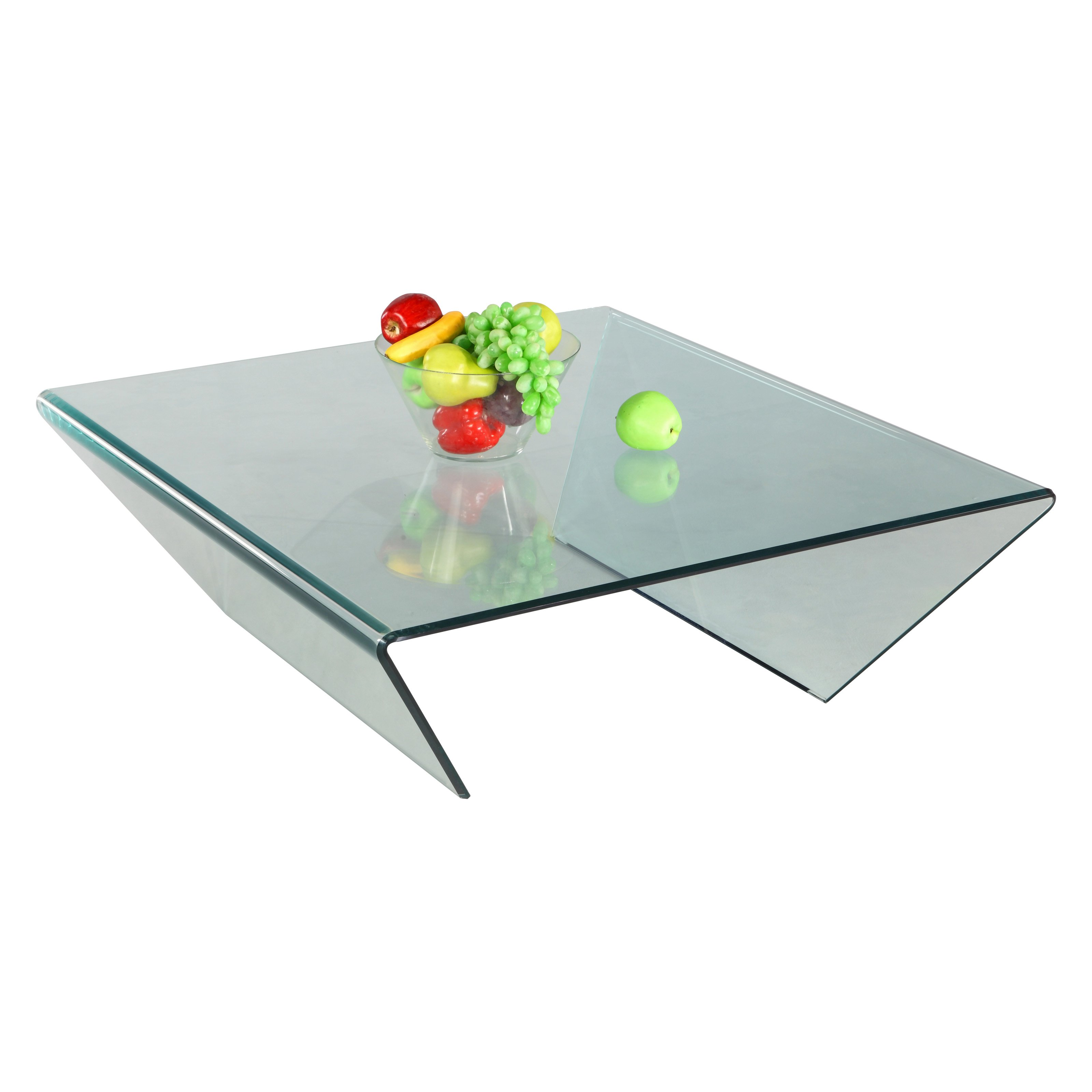 Chintaly Square Bent Glass Cocktail Table with Mirror Effect by Chintaly