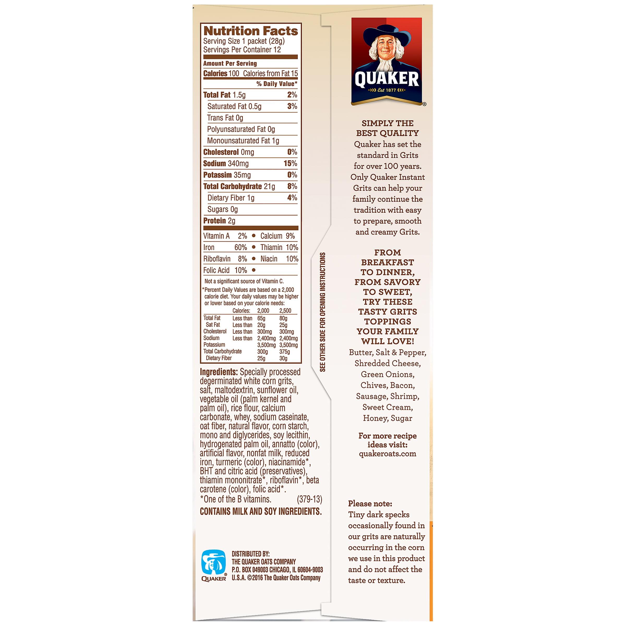 (4 Pack) Quaker Instant Grits, Butter, 1 oz Packets, 12 Count - Walmart.com