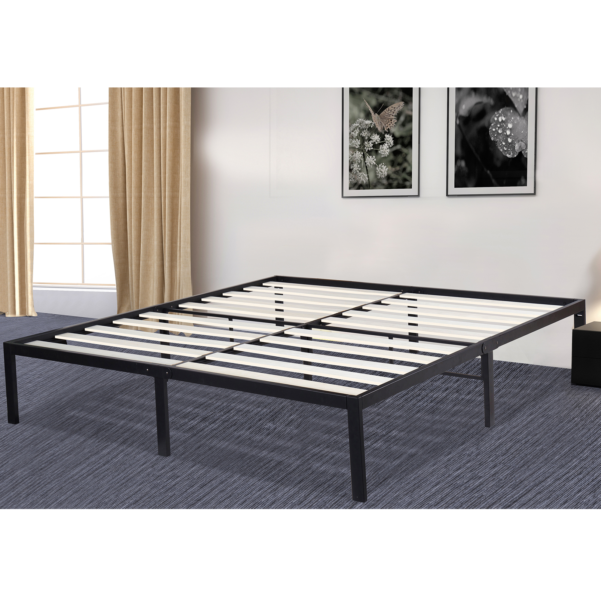 Spectacular GranRest Platform Metal Platform Bed Frame with Wood Slat Mattress Foundation Queen size GRW