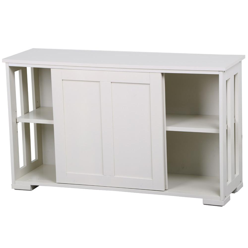 Yaheetech Kitchen Dining Room Storage Antique White Sliding Door ...