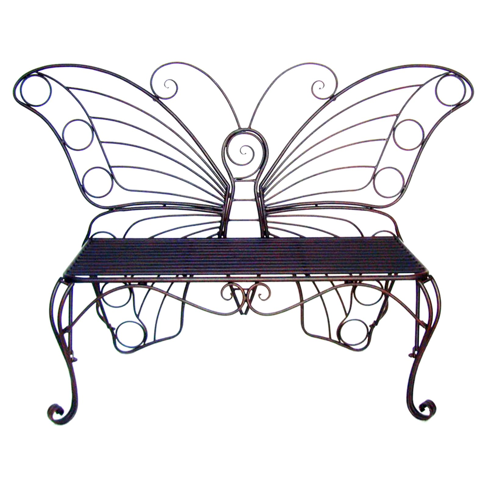 ANTIQUE BLACK METAL BUTTERFLY BENCH
