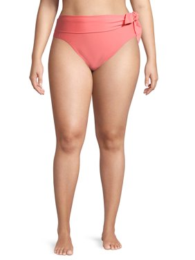 Time and Tru Women's Plus Size Orange Honey Solid Highwaist Swimsuit Bottoms