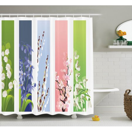 awesome bathroom flower decorations | Flower Decor Shower Curtain Set, Illustration Of Spring ...