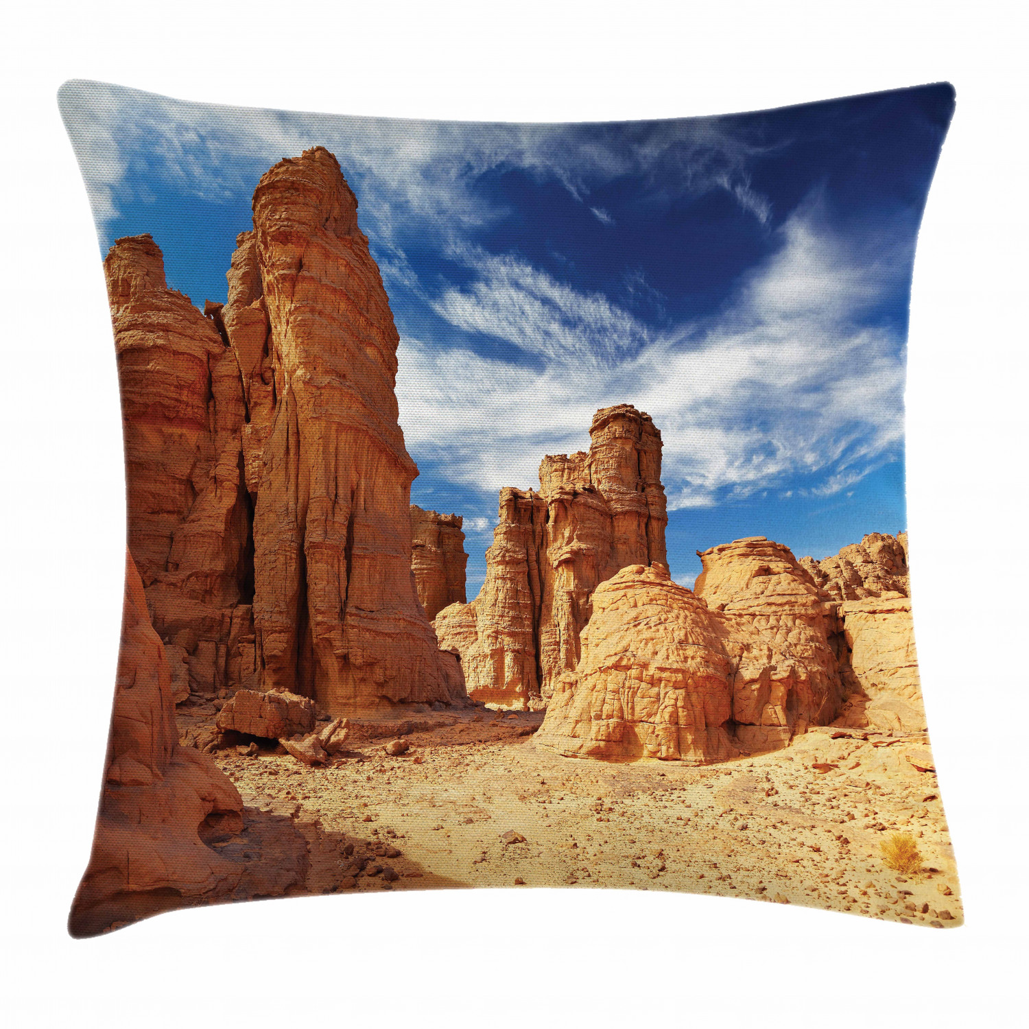 Desert Throw Pillow Cushion Cover Bizarre Sandstone Cliffs In Sahara Desert Tassili N Ajjer Algeria Decorative Square Accent Pillow Case 24 X 24 Inches Navy Blue Mustard Orange By Ambesonne Walmart Com
