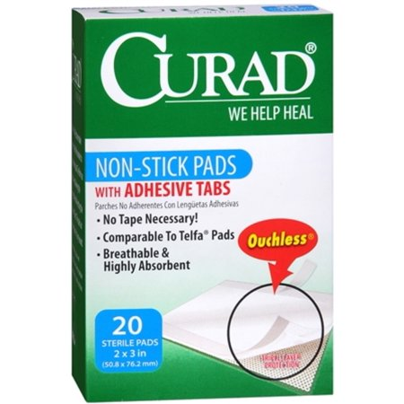 Curad Non-Stick Pads With Adhesive Tabs 2 Inches X 3 Inches 20 Each (Pack of