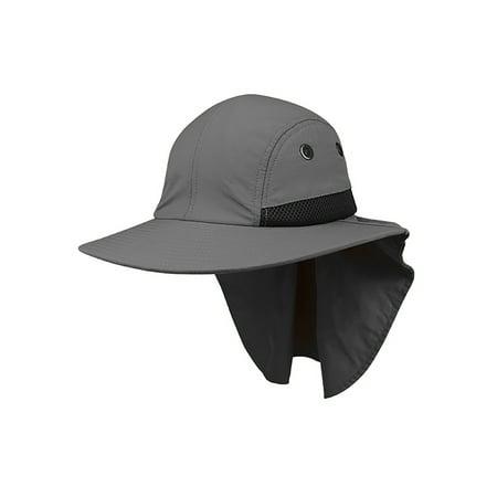 - 4 Panel Large Bill Flap Hat - Gray
