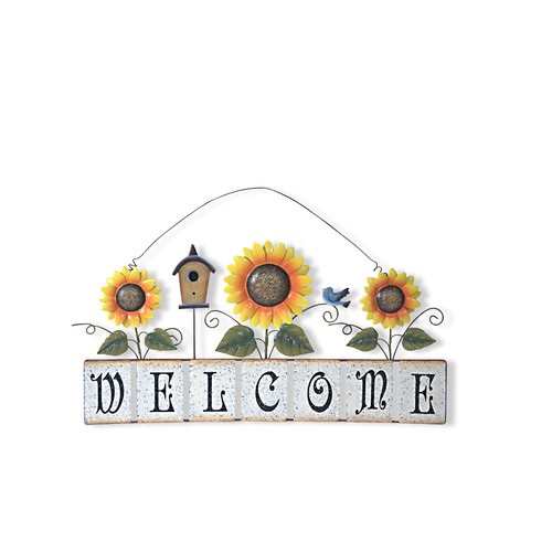 Attraction Design Home Garden Sunflower Welcome Sign Wall D cor