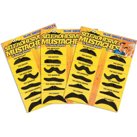 Self Adhesive Fake Mustache Novelty - Set of 36 - by Blue Ridge - Realistic Fake Mustache