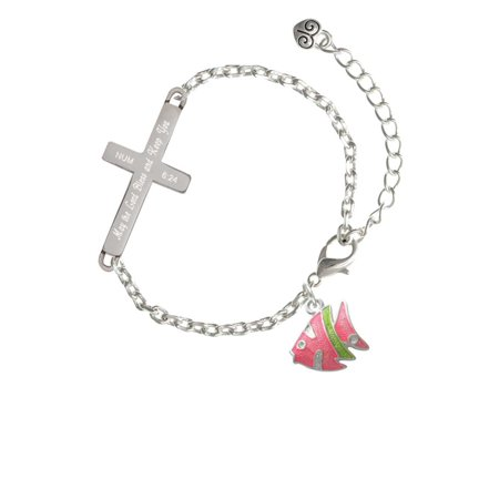 Keeping Tropical Fish - Silvertone Hot Pink Tropical Fish with Lime Green Stripe - Bless and Keep You - Cross Bracelet