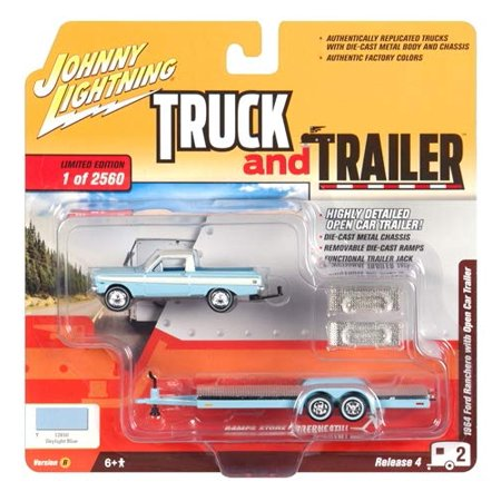1964 Ford Ranchero Pickup Truck w/Open Car Trailer Skylight Blue Ltd Ed 2,560 pcs 1/64 Diecast Car by Johnny (1966 Ford Ranchero)