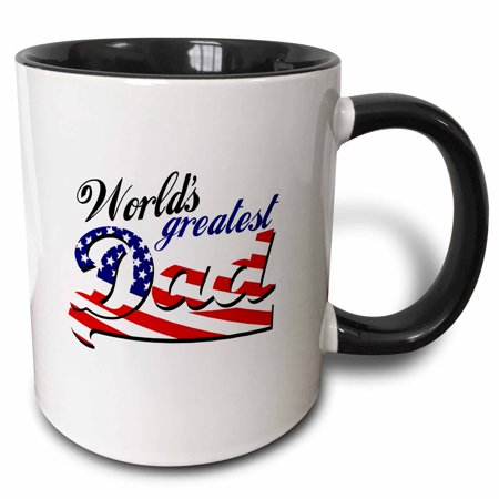 3dRose Worlds greatest dad with USA American flag - good for fathers day or as a general best daddy gift - Two Tone Black Mug,