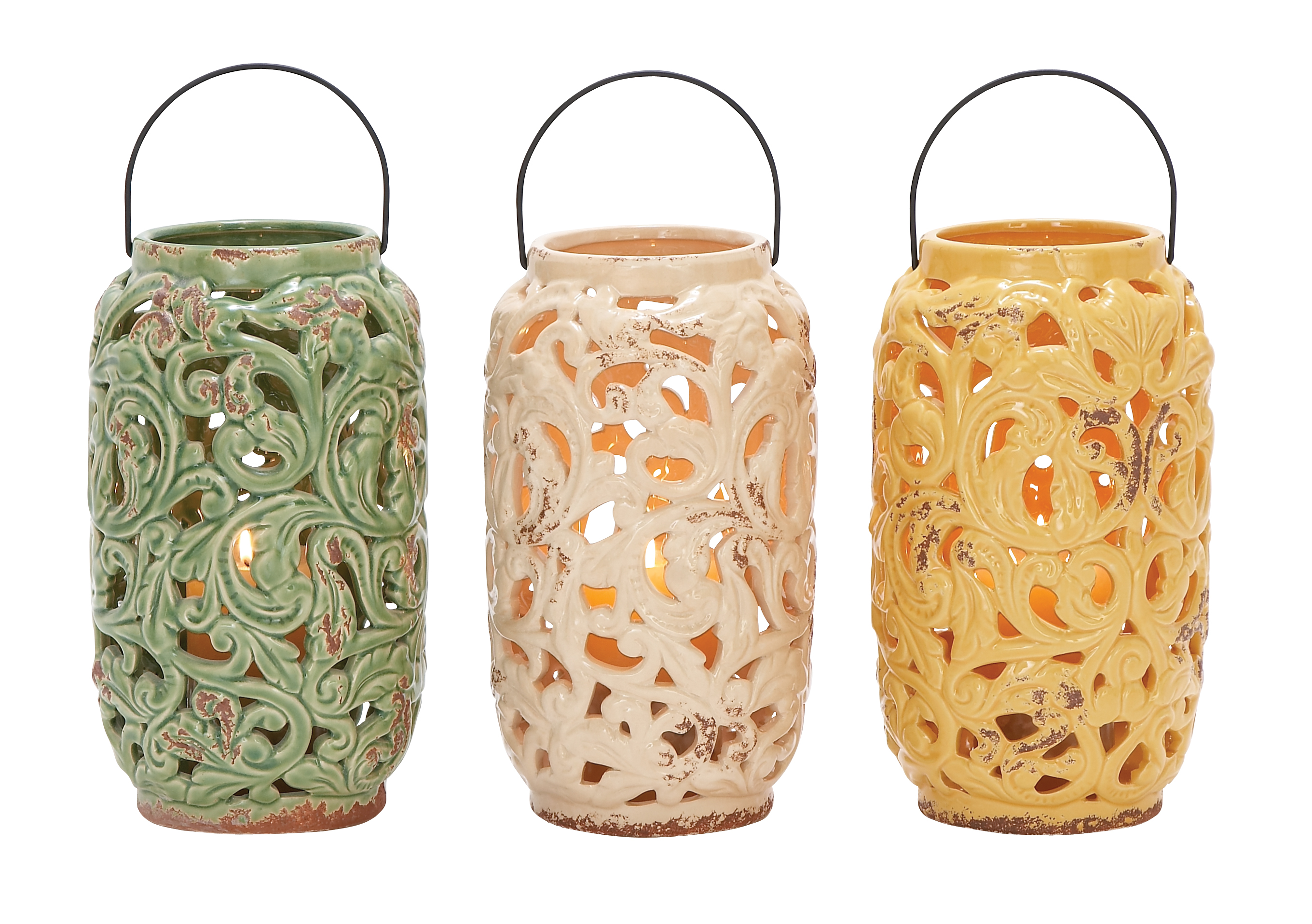 Decmode Stoneware Lantern Candle Holder Set Of 3 Walmart Com Walmart Com