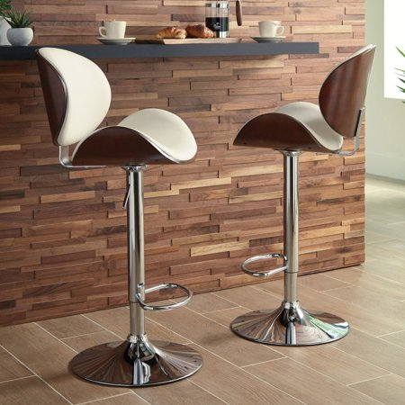 Signature Design by Ashley Bellatier Tall White and Brown Bucket Adjustable Height Barstool