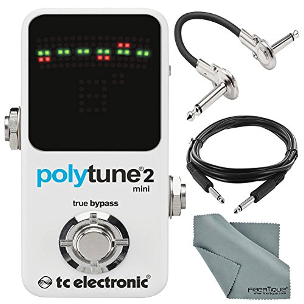 TC Electronic PolyTune 2 Mini Small Footprint Polyphonic Guitar Tuner and Accessory Bundle w/ Cables & Fibertique Cloth