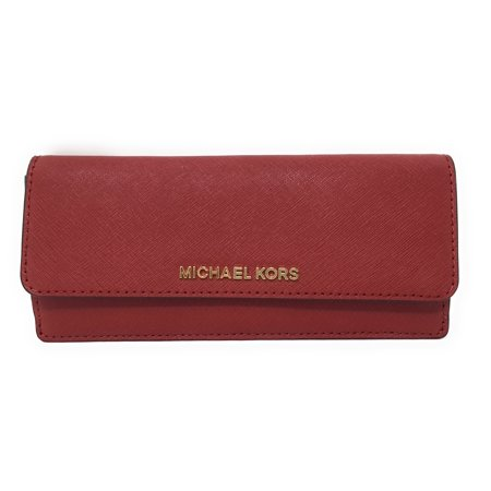 Michael Kors Jet Set Travel Flat Wallet in Saffiano Leather (Scarlet