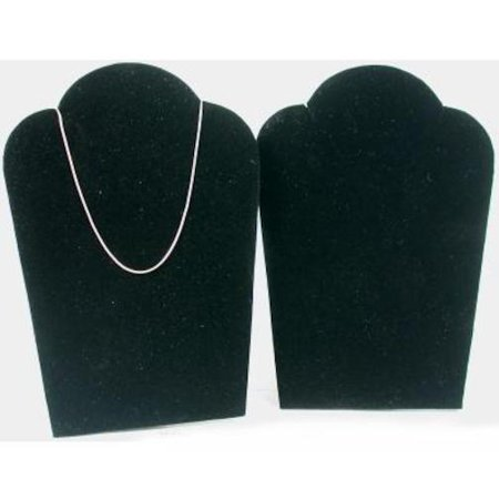 2 Black Velvet Padded Necklace Pendant Display Bust Easels 3 3/4