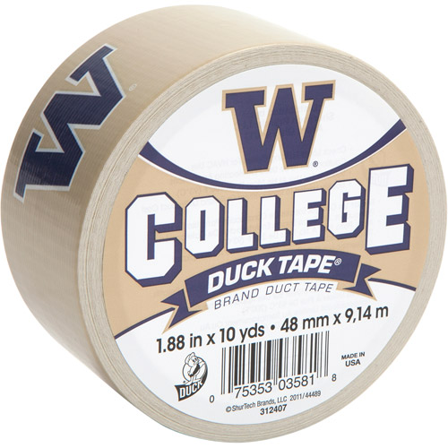 "Duck Brand Duct Tape, College Logo Duck Tape, 1.88"" x 10 yard, Univ. of Washington Huskies"