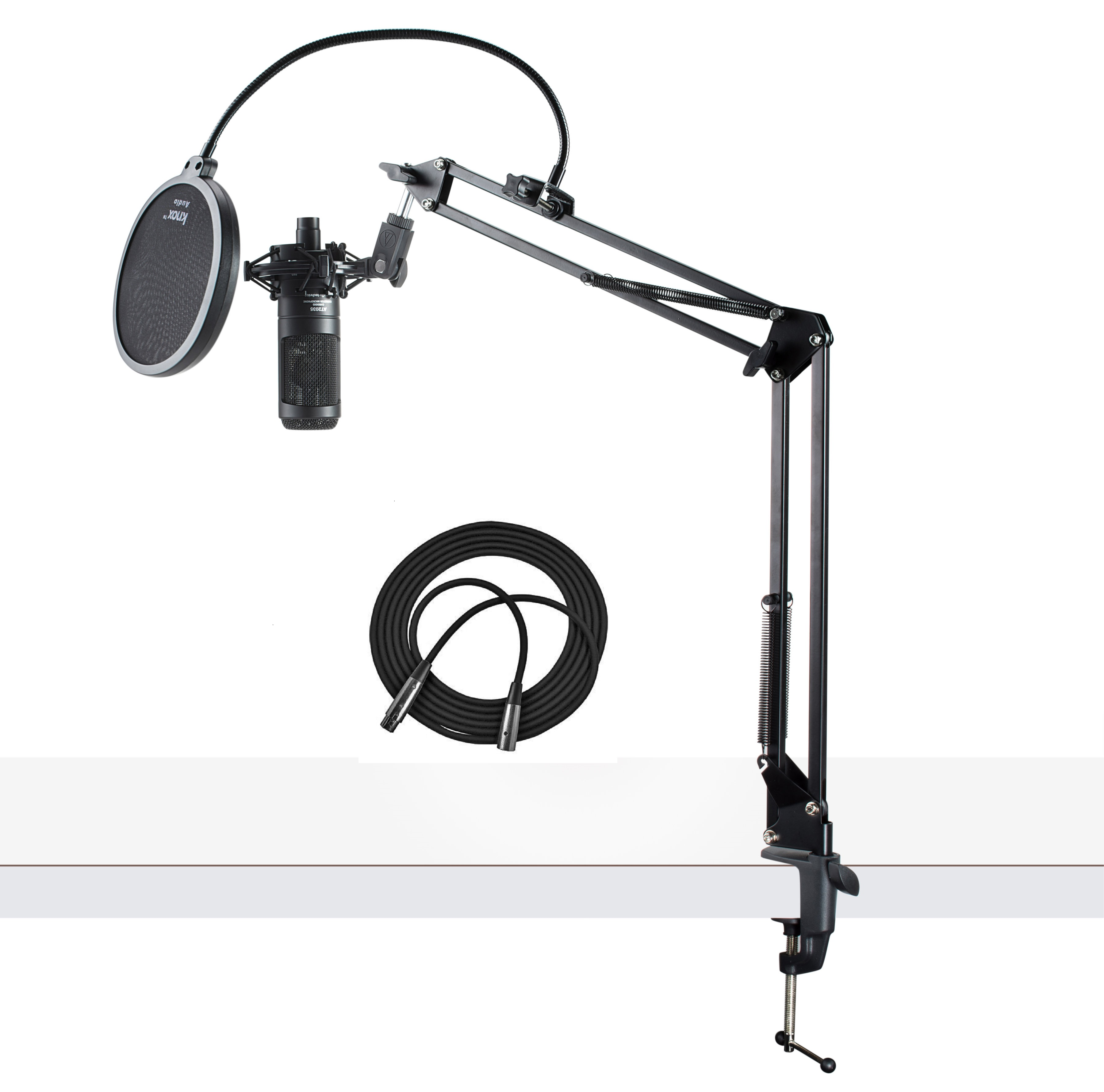 Audio-Technica AT2035 Studio Condenser Microphone with Knox Filter & Boom Arm by Audio Technica