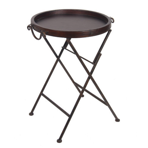 Wood U0026 Metal Chocolate Brown Finish Round Folding Tray Table W/Handles 28  Inch