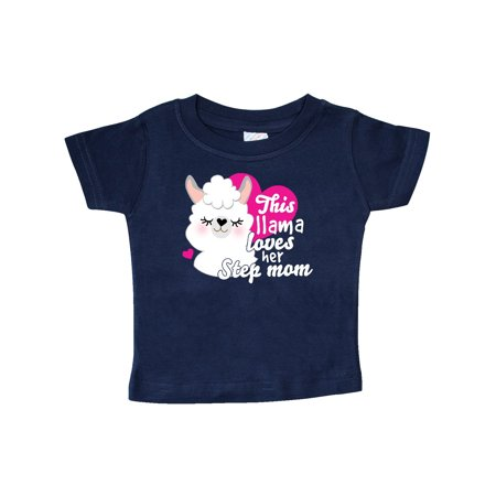 Valentines Day This Llama Loves Her Step Mom Baby T-Shirt