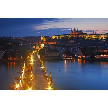 Night Lights Of Charles Bridge Or Karluv Most And Royal Palace On Castle Hill Prague Czech Republic Stretched Canvas - Trish Punch  Design Pics (19 x 12)