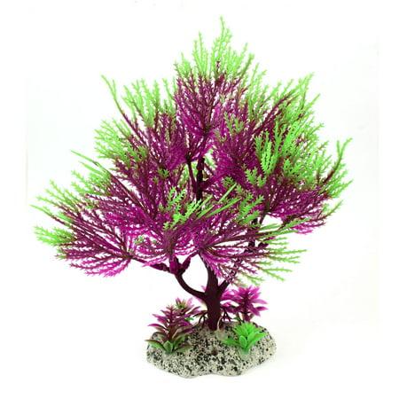 Aquarium Ceramic Base Plastic Simulation Aquatic Plant Purple Green 8.3