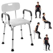WINBIGSTORE Adjustable Medical Shower Chair Bathtub Bench Bath Seat Stool Armrest Back White