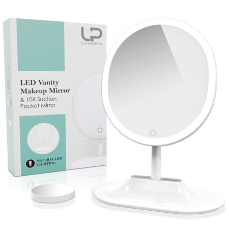 Large Four Light Vanity - LivingPro Vanity Makeup Mirror with Upgraded Anti-Glare LED Lighting Controlled by Dimmable Touch Screen Sensor with 10X Spot Mirror for Details