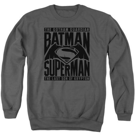 BATMAN V SUPERMAN/TITLE FIGHT-ADULT CREWNECK SWEATSHIRT-CHARCOAL-2X