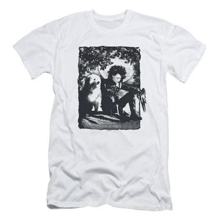 Edward Scissorhands Men's  Lucky Dog Slim Fit T-shirt White Lucky 3 T-shirt