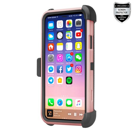 official photos 1f6e4 cc343 Apple iPhone X Case, iphone 10 Case with [Temper Glass] Swivel Slim Belt  Clip Holster Protective Case, Defender Cover with Swivel Locking Belt Clip  ...